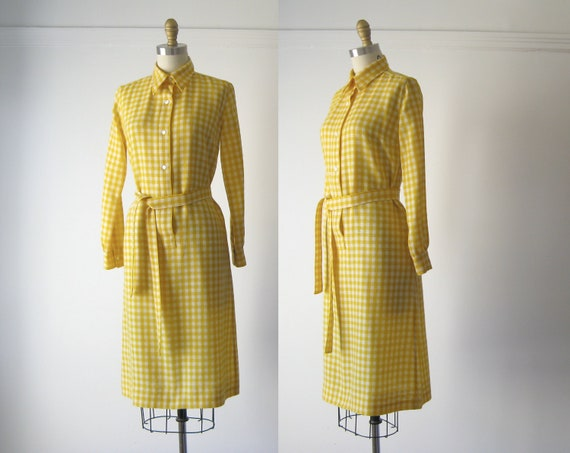 vintage yellow wool check dress