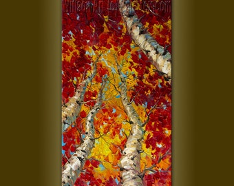 Birch Forest Original Tree Art Seasons Textured Palette Knife Landscape Painting Oil on Canvas Abstract  Modern Art 18X36 by Willson