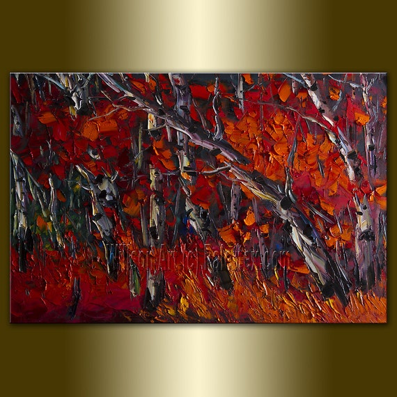 Original Birch Tree Forest Textured Palette Knife Landscape Painting Oil on Canvas Contemporary Modern Art Seasons 24X36 by Willson Lau