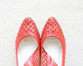 Black Friday SALE - Vintage Woven Texture Red Leather Heels - 6M