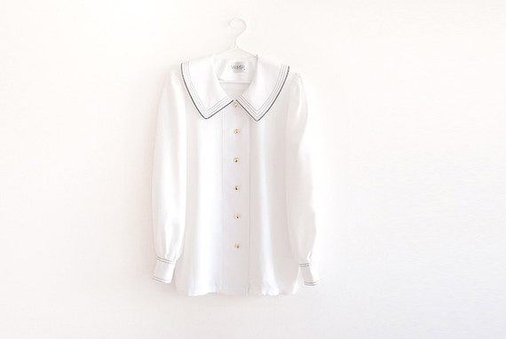 Vintage Nautical Japanese School Girl Big Collar Button Up Blouse - Reserved