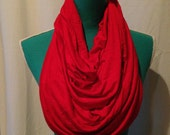 Special Listing for Sarah - Cherry Red and Grey and Off-White Stripe Scarf