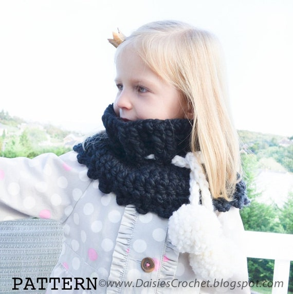 Crochet PATTERN Toddler Kids Adult nackwarmer cowl scarf infinity. (032)