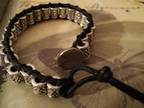 Mens Silver and Black Barrel Bracelet