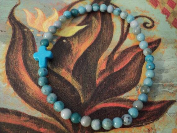 Cross Bracelet Turquoise Jasper