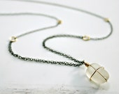 Sea Glass Necklace, Beach Glass SIlver Necklace