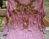 RESERVED for Loriann - Long Sleeves Bohemian Embroidered Top - Blush Pink