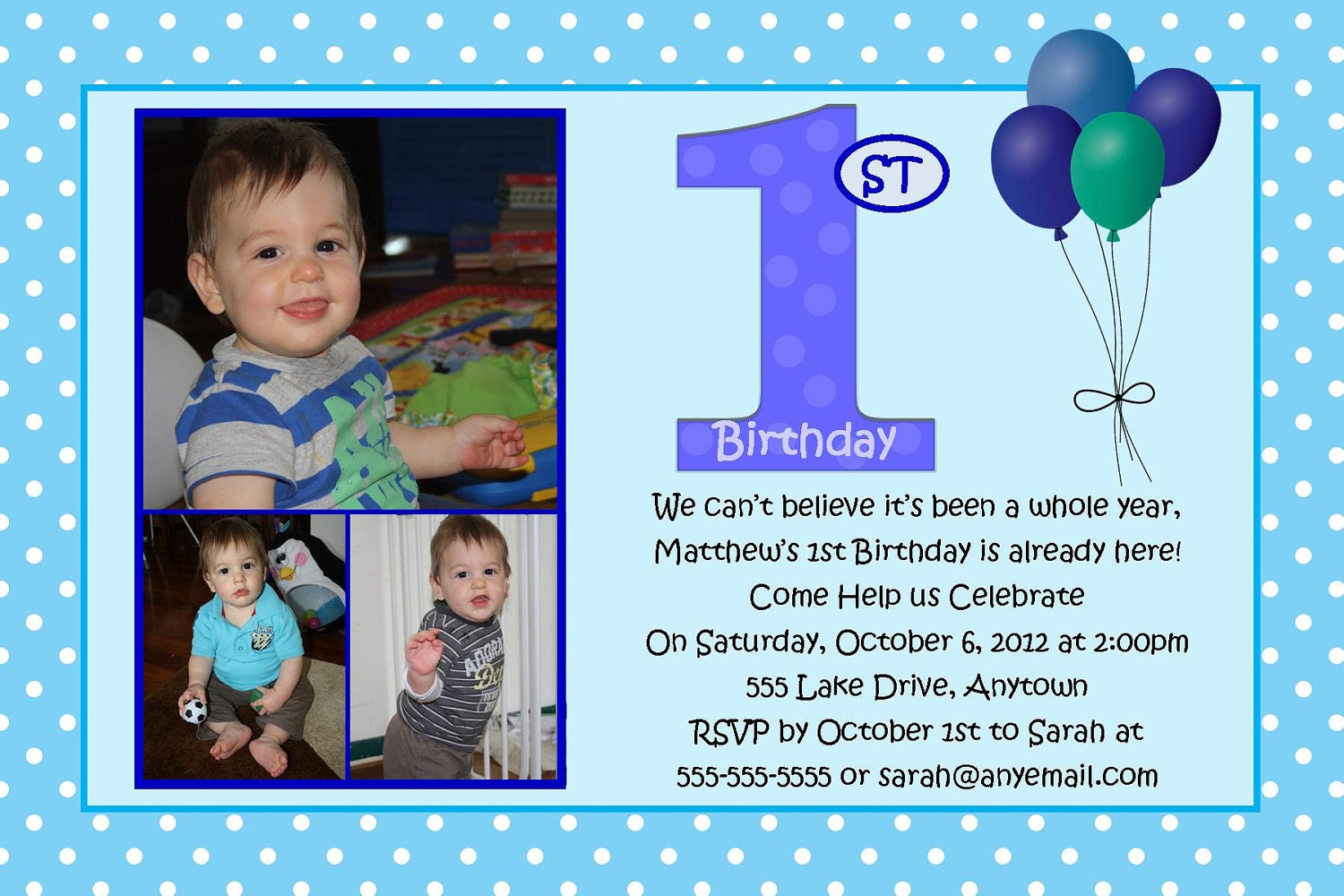 First Birthday Blue Boy Birthday Invitation You Print - Birthday invitations for baby boy 1st