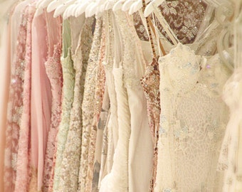 Life Is A Party Dress - Photograph Photography Photo - Metalic Print - Sparkle Dresses - Feminine Wardrobe - White Pink Cream Sequins