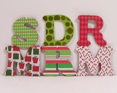 Monogram Christmas Ornament or Letter Initial Holiday tree decoration EXAMPLES