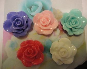 Kawaii rose decoden deco diy charm cabochons   28 mm   5 pcs---USA seller