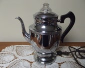 Vintage 1920's Royal Rochester Stainless Chrome Electric Coffee Maker Percolator Teapot Style with Original Cloth Cord