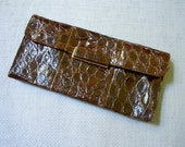 Deco Alligator Clutch, Gator bag, 40s-50s square art deco style decoration, large envelope clutch