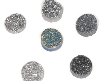 6 Pieces Round Calibrated Druzy Agate Cabochon 12mm B34DR4300