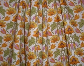 Orange and Green Art Nouveau Floral Print Pure Cotton Lawn Fabric-One Yard