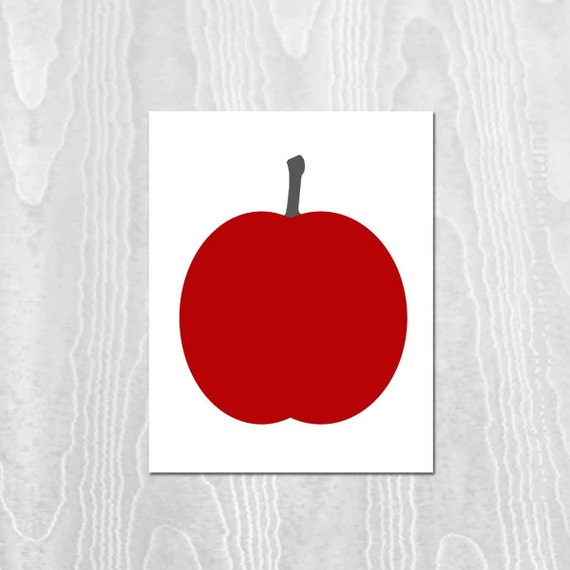 Apple Print, Apple, Red, Rustic Art Print, Modern Digital Print, Modern Farmhouse Print, Kitchen Print, Kitchen Decor, Fruit Print