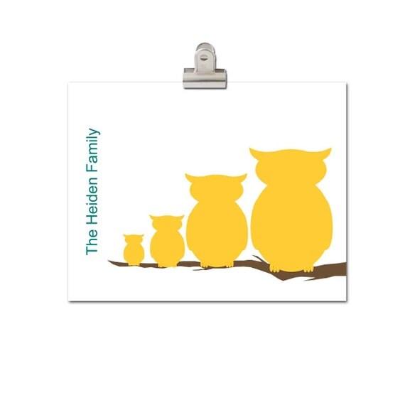 Custom Family Tree Print, Owl Print,  Custom Silhouette, Woodland,  Modern Print,  11x14 print, Orange, Brown, Fall Colors