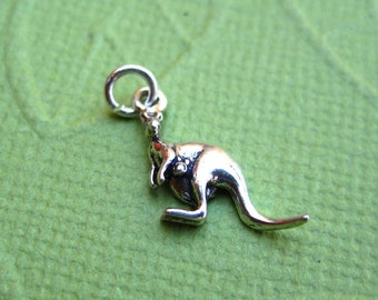Sterling Silver  Kangaroo with Joey Petite Charm
