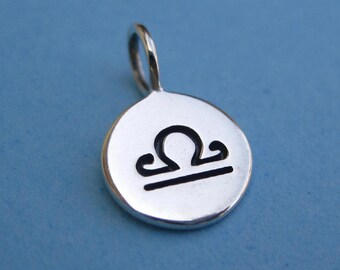 Sterling Silver Stamped Libra Zodiac Sign Disc Tag Charm