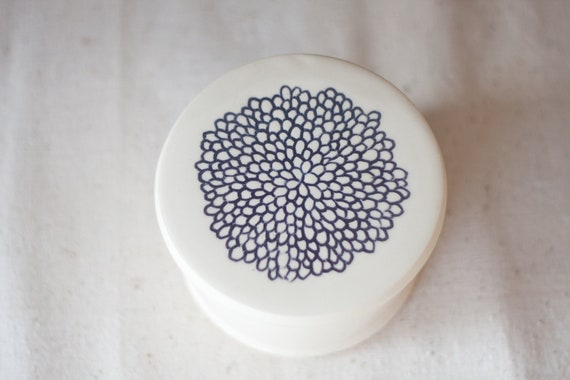 Ceramic French Butter Dish Hand carved Flower Design White Cream Pottery