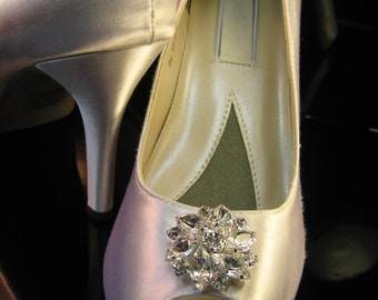 Bridal White Satin, Ivory Satin - Over 100 Colors To Pick From Wedding Shoes with Pearls and Crystals