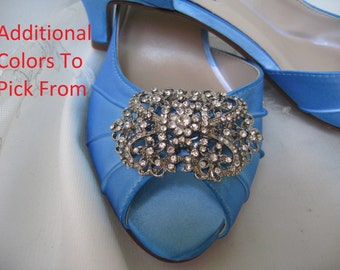 Blue Wedding Shoes Blue Bridal Shoes Vintage Inspired Crystal Brooch -100 Additional Colors To Pick From