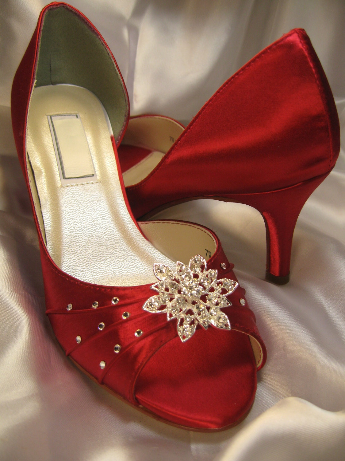 Low Heel Red Wedding Shoes - Is Heel