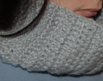 Cowl in a super soft yarn infinity handmade crochet scarf silver