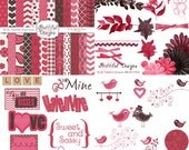 Valentine Digital Scrapbooking Kit Papers Frames Clip Art  Be My Valentine Kit 1