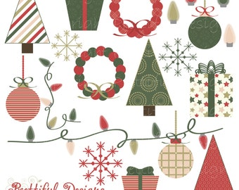 Christmas Clip Art - Personal or Commercial Use - Vintage Christmas Set 1