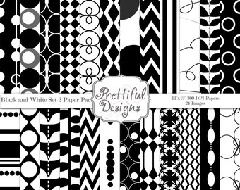 Black and White Digital Paper Pack - Personal or Commercial Use - Black and White Set 2