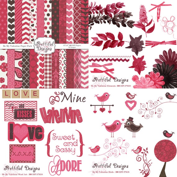 25% OFF Sale Valentine Digital Scrapbooking Kit Papers Frames Clip Art  Be My Valentine Kit 1 (203) (126) (215) (213)