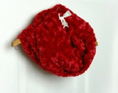 Red Fluffy Rosebud Plush Cowl , Faux Fur Loop Infinity Scarf - Winter Accessories