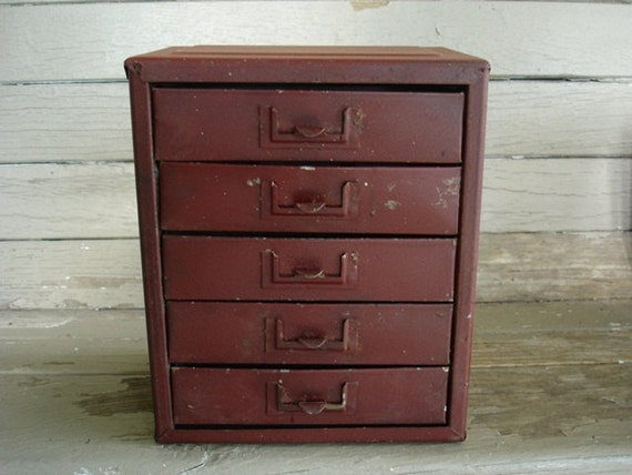 chippy burgandy metal parts organizer with 5 drawers
