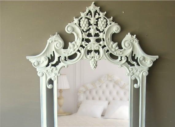 Huge Leaning Mirror, Ornate White Mirror