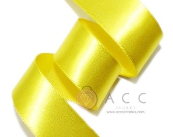 Yellow Single Faced Satin Ribbon - 5mm(2/8''), 10mm(3/8''), 15mm(5/8''), 25mm(1''), 40mm(1 1/2''), and 50mm(2'')