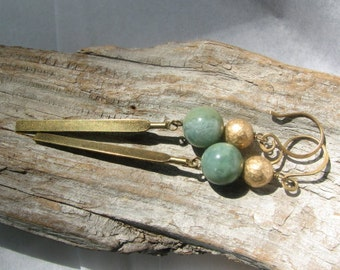 pale green and gold dangle earrings