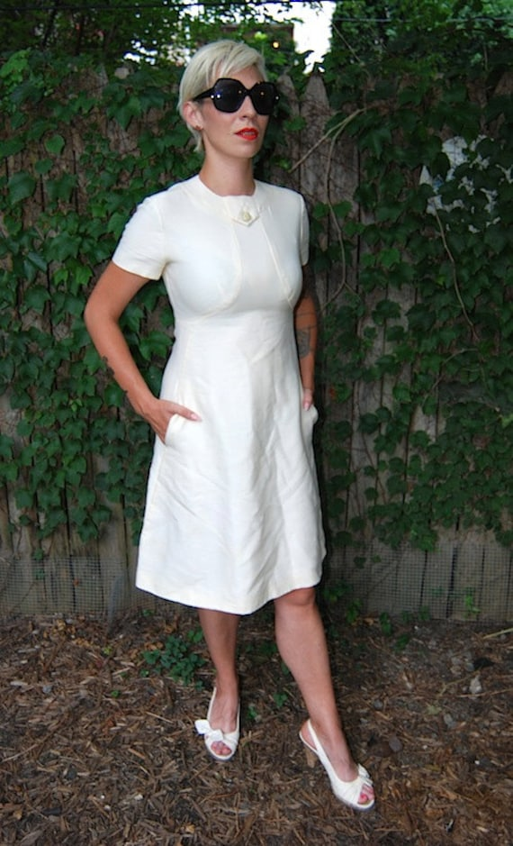 Late 1950's Early 1960s White Cream Vintage Modest Wedding Dress
