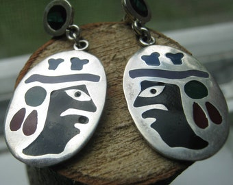Southwestern Tribal Vintage Sterling Silver from Mexico Native Earrings with Southwestern Stone Inlay