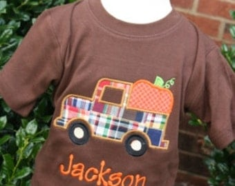 Chocolate shortsleeve tee with madras pumpkin truck and pants