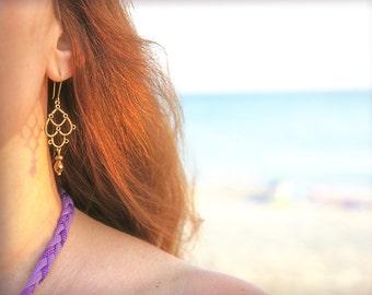 Chandelier Earrings, Titania, brass and copper crystal bicones, delicate oriental bohemian earrings
