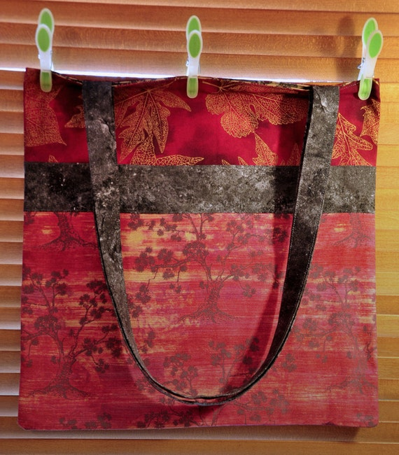 Cotton Tote bag in asian inspired print