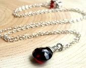 Garnet Necklace Sterling Silver Wire Wrapped red gemstone briolette, january birthstone