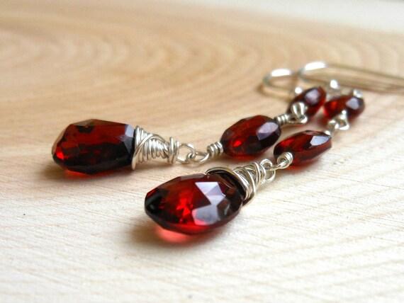 Red Garnet Earrings Faceted Red Stone Dangle Earrings, Sterling Silver Gemstone Jewelry