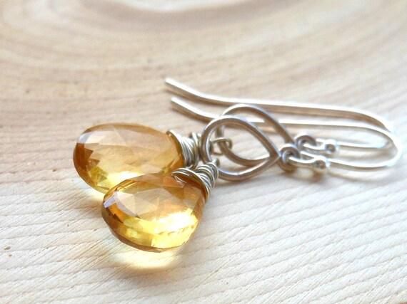 Wire Wrapped Citrine Earrings, Dangling Honey Teardrops Sterling Silver Gemstone Earrings