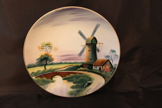 Vintage Hand Painted Plate By Hideaki Kato Made In Occupied