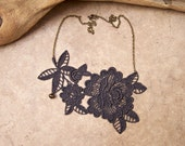 Peony lace necklace charcoal grey
