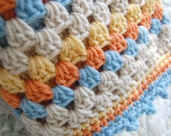 Custom Order - Crochet Granny Square Baby Blanket Afghan Baby Shower Gift - blue