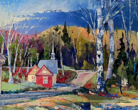 "The chapel road -Original Canadian oil painting on canvas with palette knife- Home decor 10"" X 12"" painting"