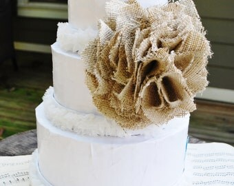 Burlap Flower Wedding Cake Topper